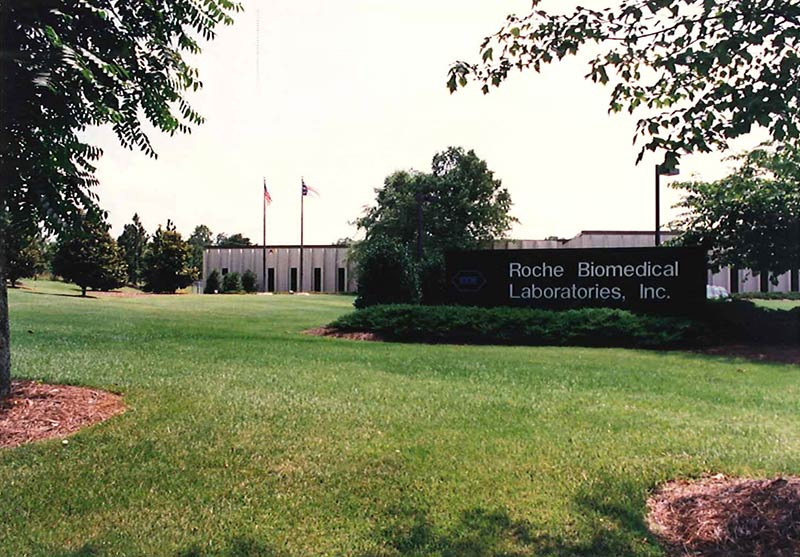 Roche Biomedical Laboratories building on York Court in Burlington, N.C. A year after acquiring Burlington, N.C.-based Biomedical Reference Laboratories in 1982, Hoffmann-La Roche merged all of its laboratory companies into one company called Roche Biomedical Laboratories (RBL). RBL and National Health Laboratories merged to become LabCorp.