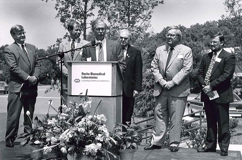 In 1992, Dr. Jim Powell, the company's first CEO, dedicated a 94,000-square-foot addition to the Roche Biomedical Laboratories' (RBL) facilities in Burlington, N.C., making it one of the largest laboratories in the world. RBL and National Health Laboratories merged in 1995 to become LabCorp.
