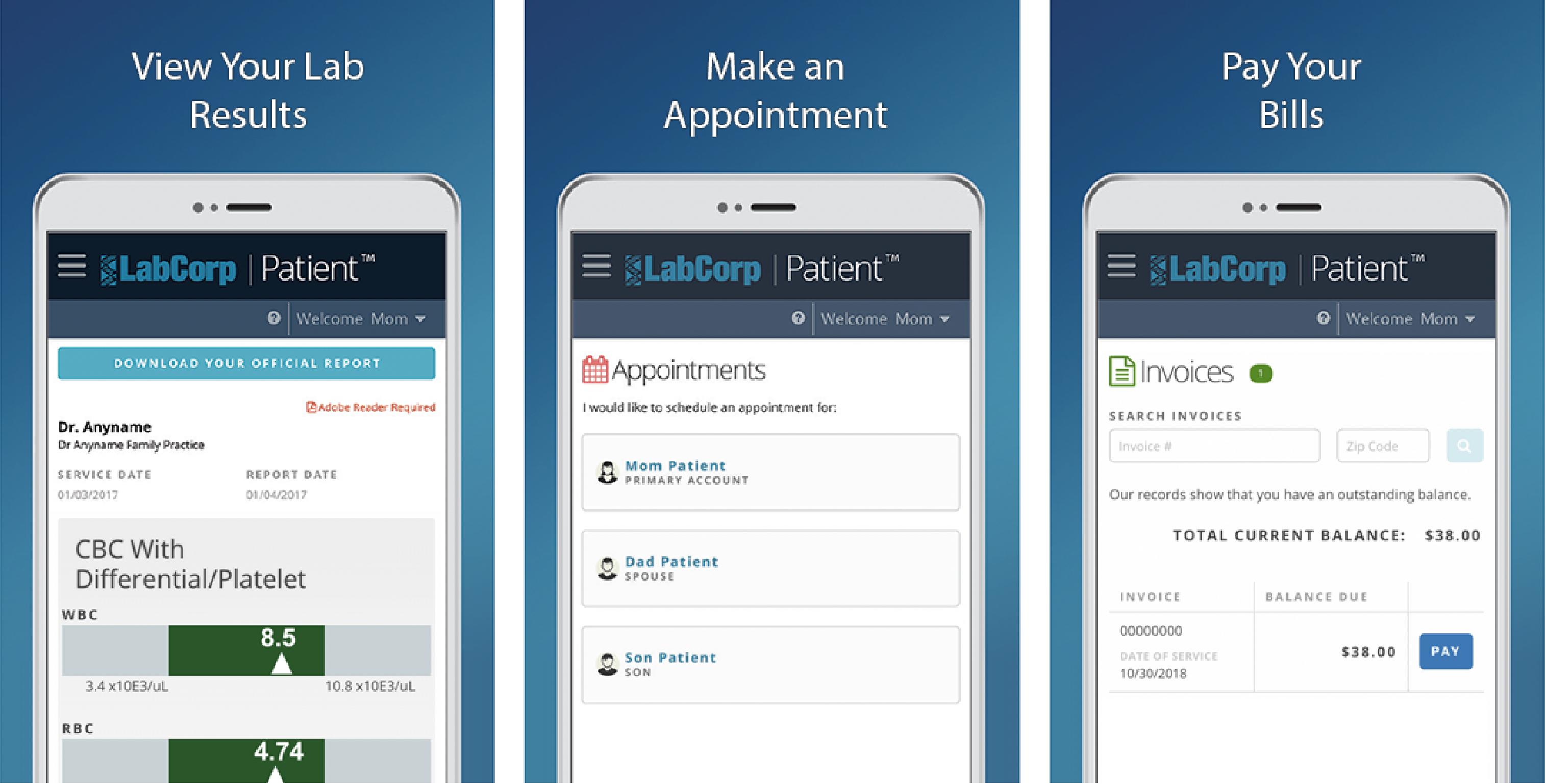 LabCorp Patient mobile app